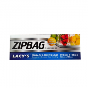 Lacy's Zip Lock Bag - 50 + 10 Free (165mm x 150mm)