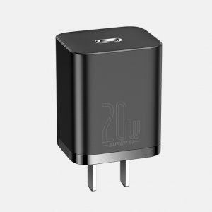 Baseus Super Si Quick Charger 1C 20W CN Sets Black (With Baseus Simple Wisdom Data Cable Type-C to iP 1m Black)