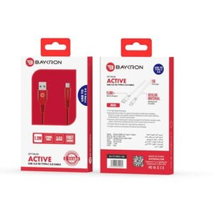 Baykron Cable USB A to Type C 1.2 M 3A RED