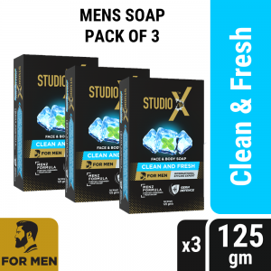 Studio X Clean & Fresh Soap For Men Combo Pack (125gm x 3)